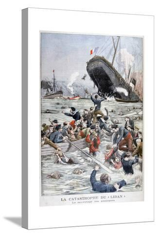 The Passenger Liner 'Liban' Sinking after Colliding with Another Ship, 1903--Stretched Canvas Print
