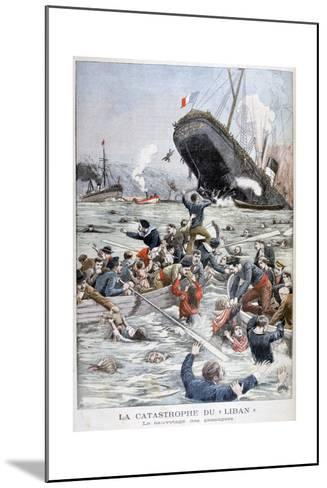 The Passenger Liner 'Liban' Sinking after Colliding with Another Ship, 1903--Mounted Giclee Print