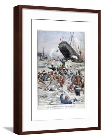 The Passenger Liner 'Liban' Sinking after Colliding with Another Ship, 1903--Framed Art Print