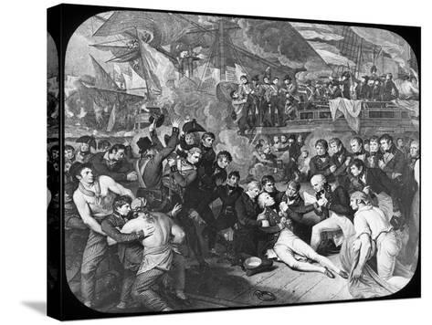 Admiral Lord Nelson Wounded at the Battle of Trafalgar, 1805-Newton & Co-Stretched Canvas Print