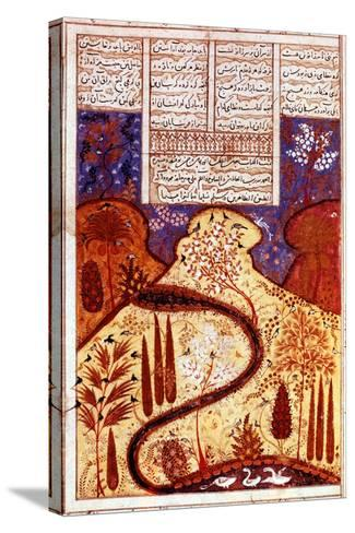A Paradise Garden, Persian Miniature, C1300--Stretched Canvas Print
