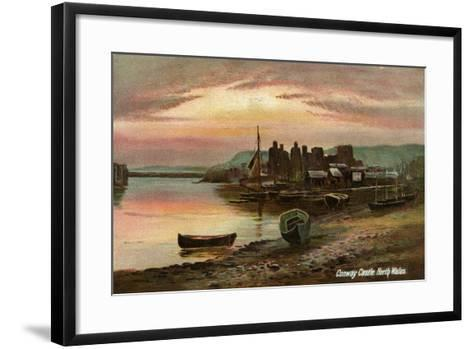 Conway Castle, Caernarvonshire, North Wales, Late 19th or Early 20th Century- Langsdorff and Co-Framed Art Print