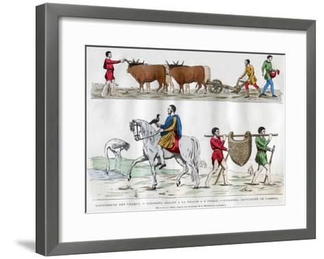 Ploughing, a Lord Hunting with a Bird, a Slave, and Two Servants, 5th-7th Century (1882-188)--Framed Art Print