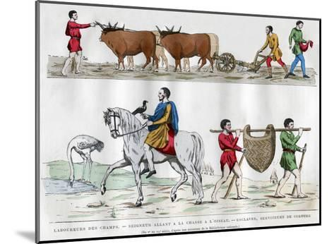 Ploughing, a Lord Hunting with a Bird, a Slave, and Two Servants, 5th-7th Century (1882-188)--Mounted Giclee Print