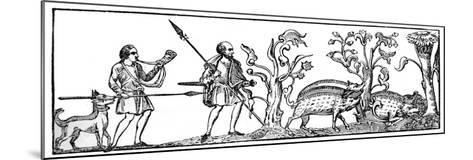 Swine Hunting, 9th Century--Mounted Giclee Print