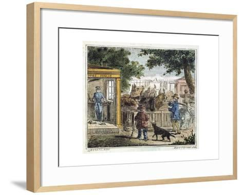 Public Weighbridge Used to Weigh Cattle in a Market, 1867--Framed Art Print