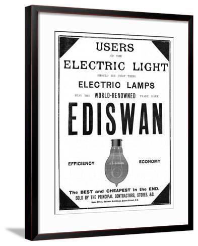 Advertisement for Ediswan Incandescent Light Bulbs, 1898--Framed Art Print