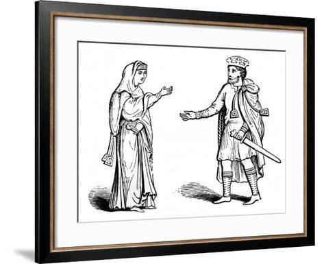 Queen Alfgyfe and King Canute, 11th Century--Framed Art Print