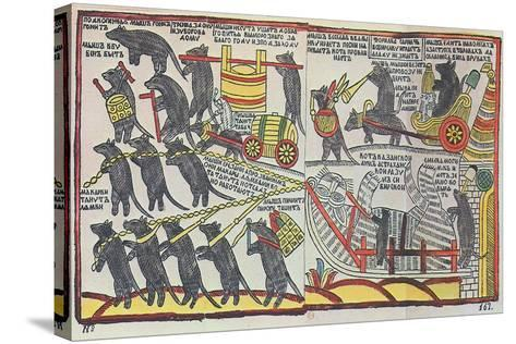 The Mice are Burying the Cat, Lubok Print, 1760--Stretched Canvas Print