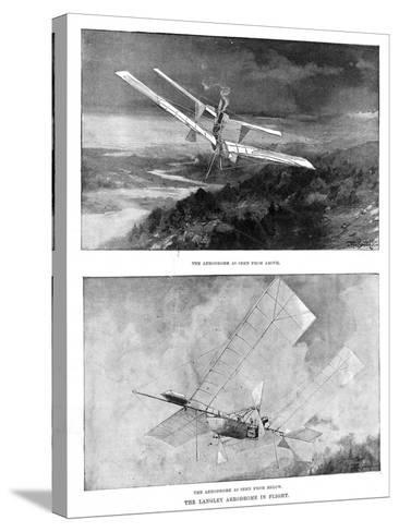 SP Langley's Steam-Powered Model Plane 'Aerodrome' Viewed from Above and Below, 1902--Stretched Canvas Print