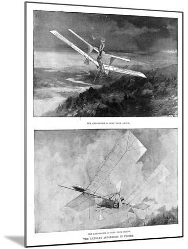 SP Langley's Steam-Powered Model Plane 'Aerodrome' Viewed from Above and Below, 1902--Mounted Giclee Print