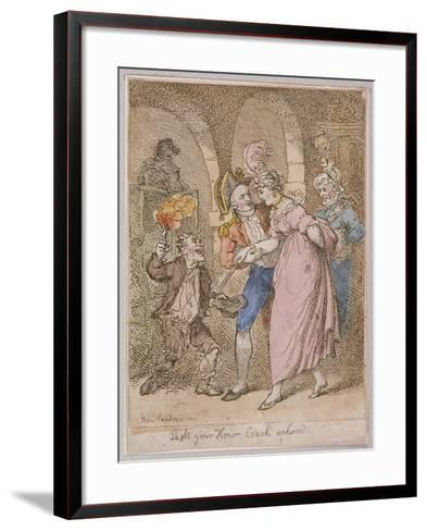 Light Your Honor Coach Unhired, Scene at Covent Garden Piazza,Cries of London, 1811-Thomas Rowlandson-Framed Art Print