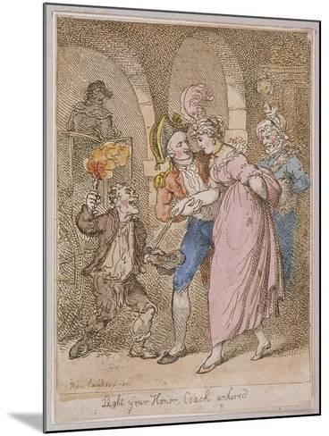 Light Your Honor Coach Unhired, Scene at Covent Garden Piazza,Cries of London, 1811-Thomas Rowlandson-Mounted Giclee Print