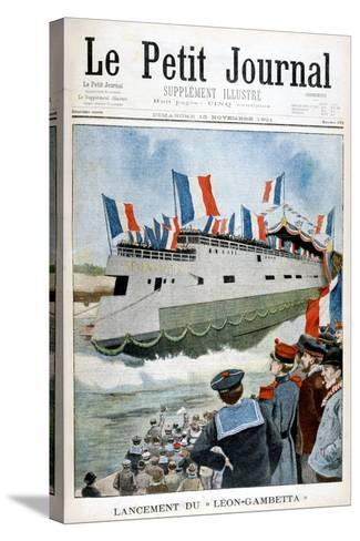 The Launching of the Armoured Cruiser 'Leon Gambetta, France, 1901--Stretched Canvas Print
