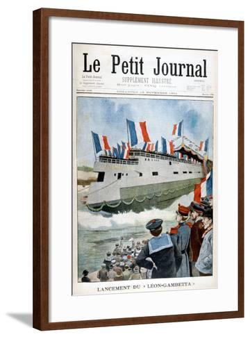 The Launching of the Armoured Cruiser 'Leon Gambetta, France, 1901--Framed Art Print