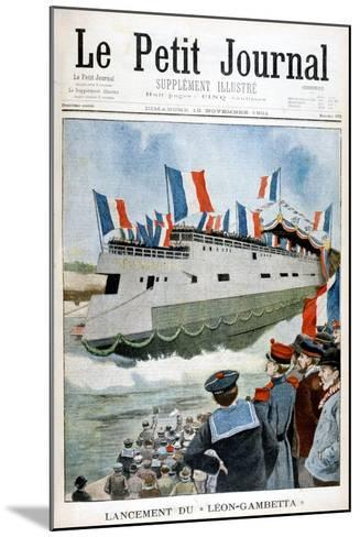 The Launching of the Armoured Cruiser 'Leon Gambetta, France, 1901--Mounted Giclee Print
