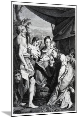 Madonna and Child with St Jerome and Mary Magdalen, 1525-1528- Fontana-Mounted Giclee Print