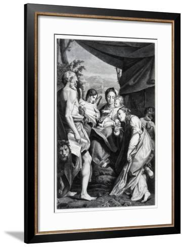 Madonna and Child with St Jerome and Mary Magdalen, 1525-1528- Fontana-Framed Art Print