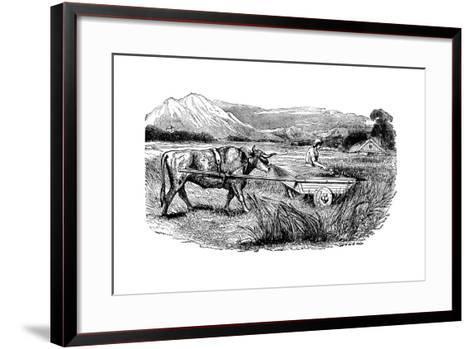 Reconstruction of Roman Reaping Cart, as Described by Pliny, Engraving, 1860--Framed Art Print