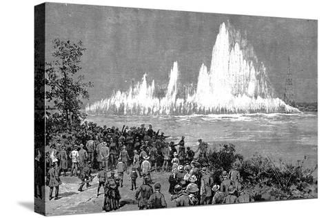 Blowing Up Flood Rock, 1885-C Graham-Stretched Canvas Print