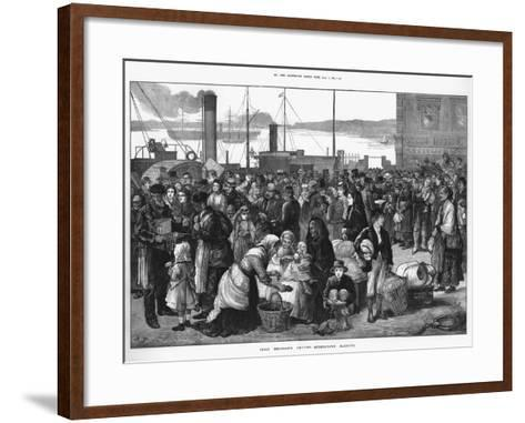 Irish Emigrants Leaving Queenstown (Cob), the Port for Cork, for the United States, 1874--Framed Art Print
