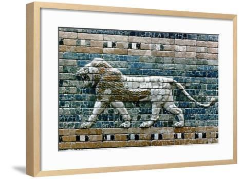 Lion Passant from Wall of the Sacred Way to the Ishtar Gate, Babylon (Ira), C575 BC--Framed Art Print