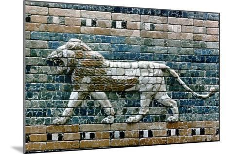 Lion Passant from Wall of the Sacred Way to the Ishtar Gate, Babylon (Ira), C575 BC--Mounted Giclee Print