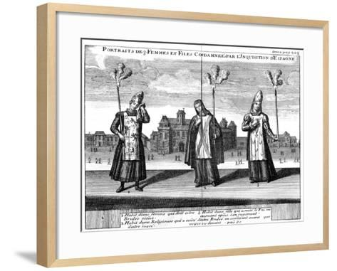 Portraits of 3 Women and Girls Condemned by the Spanish Inquisition, 1759--Framed Art Print