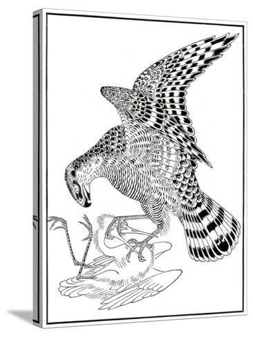 Falcon and Egret, 16th Century-Soga Chokuna-Stretched Canvas Print