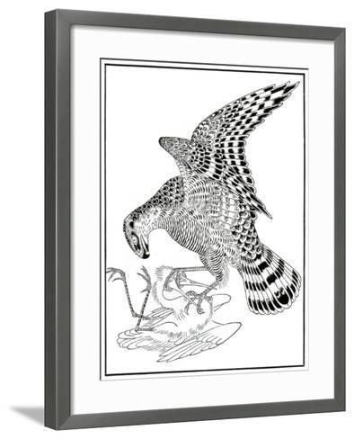 Falcon and Egret, 16th Century-Soga Chokuna-Framed Art Print