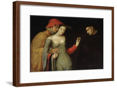 A Scene from Commedia Dell'Arte (Two Age), Second Half of 16th Century--Framed Art Print