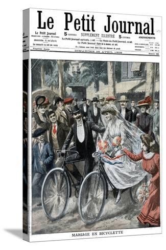 Wedding Party on Bicycles Led by the Bride and Bridegroom, Nice, France, 1909--Stretched Canvas Print