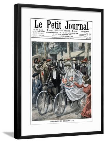 Wedding Party on Bicycles Led by the Bride and Bridegroom, Nice, France, 1909--Framed Art Print