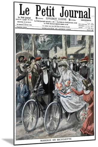 Wedding Party on Bicycles Led by the Bride and Bridegroom, Nice, France, 1909--Mounted Giclee Print