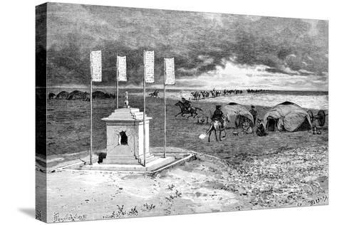 The Tomb of a Lama and an Encampment, Mongolian Desert, C1890-Ivan Pranishnikoff-Stretched Canvas Print