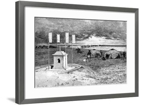 The Tomb of a Lama and an Encampment, Mongolian Desert, C1890-Ivan Pranishnikoff-Framed Art Print