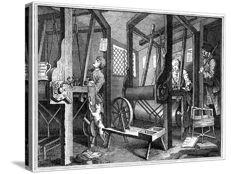 Weaving at Spitalfields, London, 1747-William Hogarth-Stretched Canvas Print