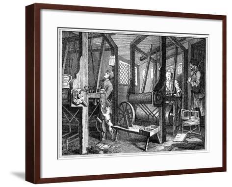 Weaving at Spitalfields, London, 1747-William Hogarth-Framed Art Print