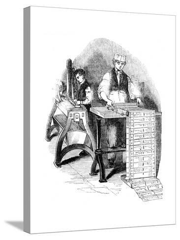 Preparing Punched Cards for a Jacquard Loom, 1844--Stretched Canvas Print