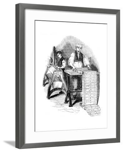 Preparing Punched Cards for a Jacquard Loom, 1844--Framed Art Print