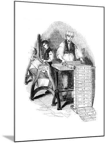 Preparing Punched Cards for a Jacquard Loom, 1844--Mounted Giclee Print