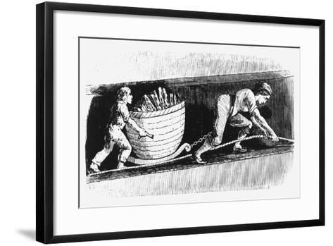 Woman and Boy Drawing a Corve Containing 3-4 Cwt of Coal, Bolton, Lancashire, 1848--Framed Art Print