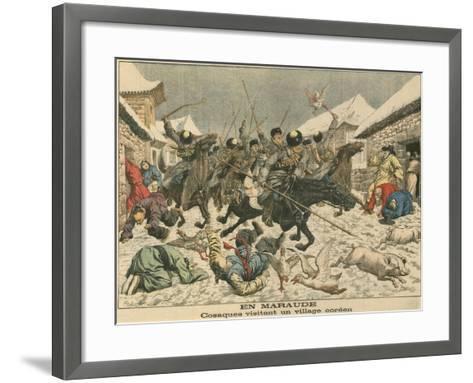 Cossacks Terrorising a Korean Village, Russo-Japanese War, 1904--Framed Art Print