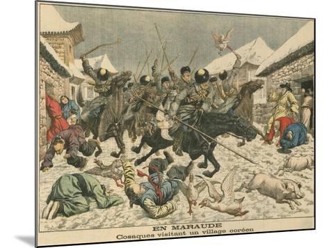 Cossacks Terrorising a Korean Village, Russo-Japanese War, 1904--Mounted Giclee Print