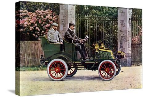 Two Edwardian Gentlemen Sitting in a Motor Car, 1902-1903-John & Son Swan-Stretched Canvas Print