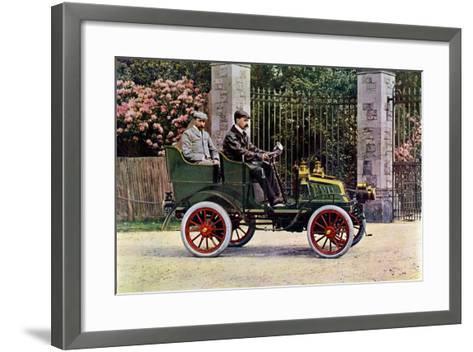 Two Edwardian Gentlemen Sitting in a Motor Car, 1902-1903-John & Son Swan-Framed Art Print