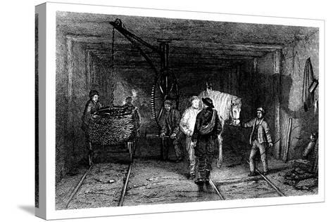 Underground Scene in a Coal Mine, 1860--Stretched Canvas Print