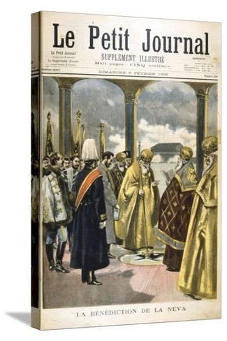 Ceremony of Blessing the River Neva, St Petersburg, by Russian Orthodox Priests, 1895--Stretched Canvas Print
