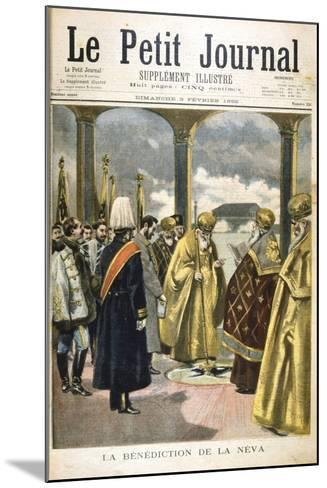 Ceremony of Blessing the River Neva, St Petersburg, by Russian Orthodox Priests, 1895--Mounted Giclee Print