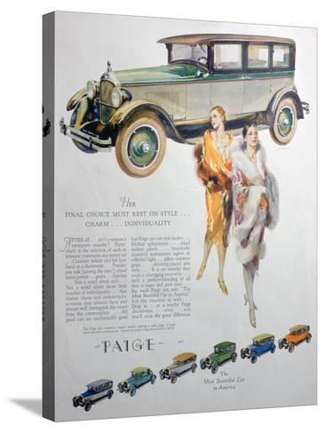 Advert for Paige Motor Cars, 1927--Stretched Canvas Print